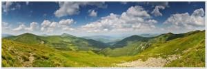 Highest Ukrainian mountain ridges panorama