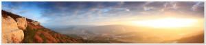 sunrise in the mountains. Cave city Eski-Kermen, Crimea, Ukraine