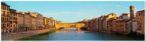 View of Gold (Ponte Vecchio) Bridge in Florence, panorama
