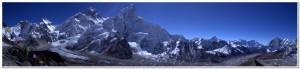 kala patthar summit panorama showing everest, lhotse, and the khumbu glacier